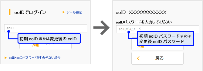 eoマイページログイン画面 エラー